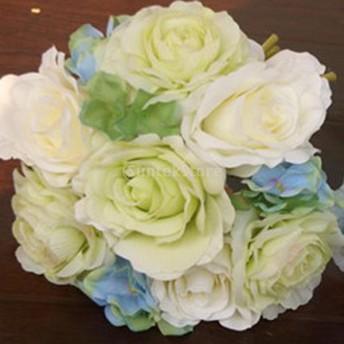 【ノーブランド 品】結婚式 花嫁 ホーム パーティー インテリア 装飾 造花 ブーケ フラワー グリーン アイボリー