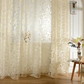 ジャカード 花柄 薄手 チュール カーテン レースカーテン リビングルーム 客間 飾り 全3色2サイズ - ベージュ, 200cmx100cm