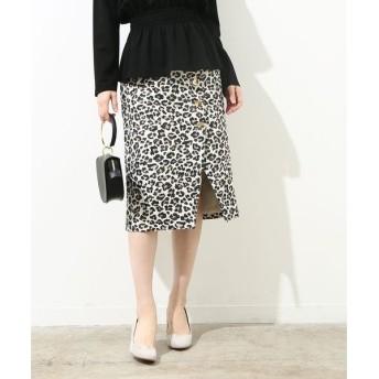 ROPE' / ロペ サイドボタンレオパードタイトスカート