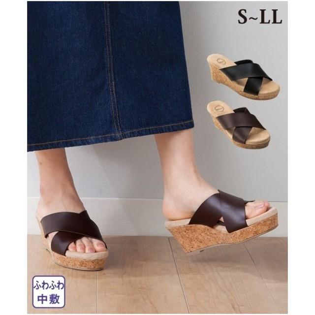 サンダル レディース クロス ウェッジ 靴 22.5〜23.0/23.0〜23.5/24.0〜24.5/24.5〜25.0cm ニッセン
