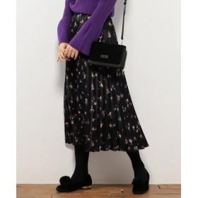 any FAM / エニィファム ピーチサテンフラワープリーツ スカート