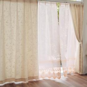 カーテン カーテン ベルメゾン 繊細なフラワーレースと綿混生地の2重カーテン 2枚 約100×110