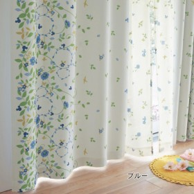 カーテン カーテン ディズニー フラワーモチーフのプリント遮光カーテン ブルー 約100×110 2枚