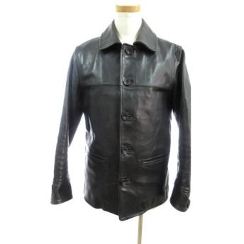 ファインダーズキーパーズ Finders Keepers コート ジャケット ステンカラー シングル ボタン FK-CAR COAT レザー 本革 馬革 ウール 黒 ブラック S 美品 14AW