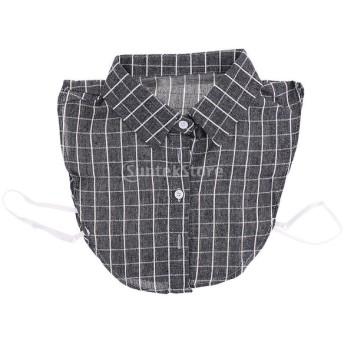 女性 偽の襟 取り外し可能 付け襟 ブラウス 刺繍 チェック柄 全6色 - グレー