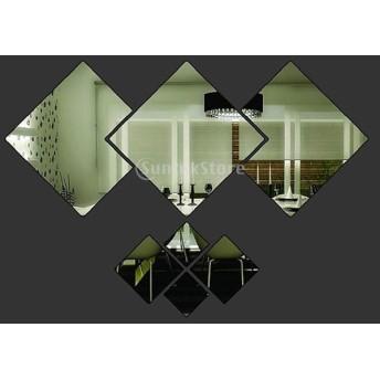 ノーブランド品ウォールステッカー 鏡効果 ミラー効果 鏡になる 剥がせる 7枚 菱形