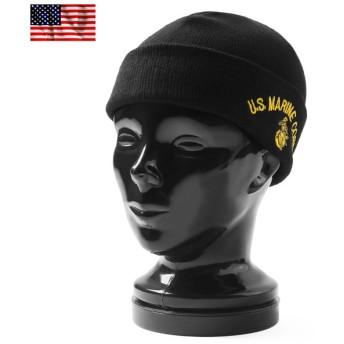 新品 米軍 OTTO社製 ミリタリーニットキャップ #4 U.S. MARINE CORPS logo メンズ ニット帽 帽子 ブランド ミリタリー ブラック ロゴ