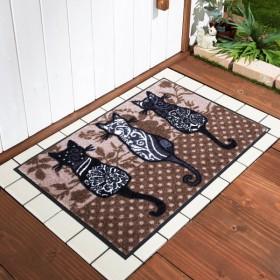 玄関マット おしゃれ マット 並んだ猫柄の泥落とし屋外玄関マット 約50×75cm