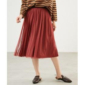 Rouge vif la cle Yangany チュール+サテンリバースカート
