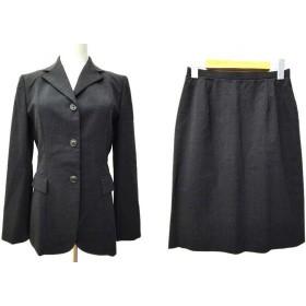 ジェイプレス J.PRESS スーツ スカート セットアップ 背抜き シングル 3B テーラードジャケット 無地 9号 グレー 日本製 B89124 レディース