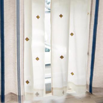カーテン 安い おしゃれ レースカーテン ベルメゾン キリム柄刺繍のUVカット 遮像ボイルカーテン 約100×88 2枚 約100×108 2枚