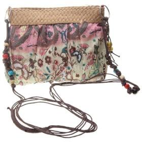 レディース ボヘミア風 かぎ針 編み物 ストロー ハンドバッグ 鞄 軽量 耐久性 7色選べる - ピンク