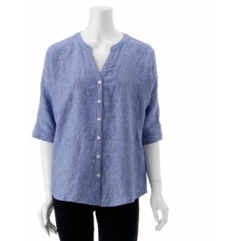 シャツ ブラウス レディース 麻100%で清涼感のあるシャツ15号 19号 ブルー