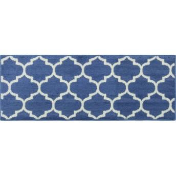 キッチンマット 洗える北欧風キッチンマット モロッカン ブルー 約45×120