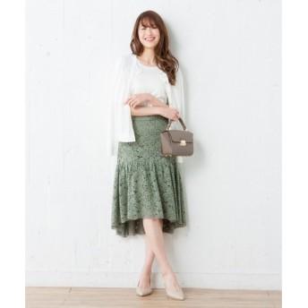 組曲 / クミキョク 【洗える】フルールラッセルコードレース スカート
