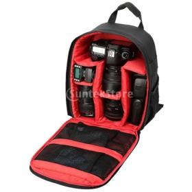 ノーブランド品 デジタル 一眼 レフ 防水EVAベース  カメラバッグ  保護ケース  - ブラックレッド