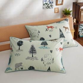 布団カバー シーツ 枕カバー ピローケース ダニを通しにくい枕カバー2枚セット アニマル柄 約43×63cm用