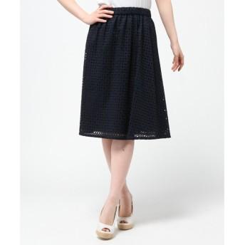 L size ONWARD(大きいサイズ) / エルサイズオンワード コットンスクエアエンブロイダリー スカート