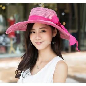 女性 太陽の帽子 ツバ広 ビーチキャップ わら ちょう結び キャップ ギフト 全5色選べる - バラレッド