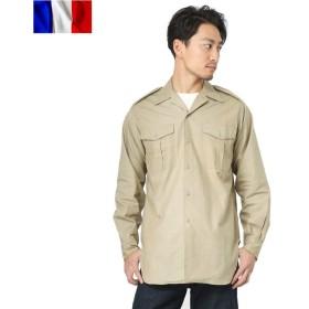 実物 フランス軍 M-47 チノシャツ メンズ ミリタリー カーキ トップス 無地 長袖 放出品 軍用 軍服