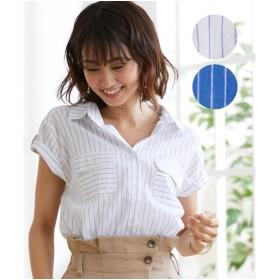 長袖 シャツ ブラウス レディース フレンチスリーブ胸ポケットシャツ OFF STYLE 半袖 M/L ニッセン
