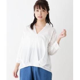 【46%OFF】 ピンクアドベ カシュクール風スキッパーシャツ レディース オフホワイト(003) 40(L) 【pink adobe】 【タイムセール開催中】