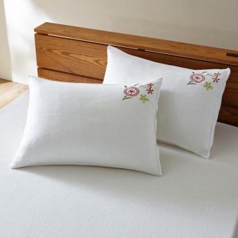 布団カバー シーツ 枕カバー ピローケース ベルメゾン フレンチリネン刺繍の枕カバー2枚セット アイボリー系 約43×63cm用