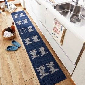キッチンマット 動物柄のキッチンマット ブルー 約45×120