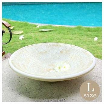 アジアン雑貨 モザイクガラスの白くて丸いプレート L アジア工房