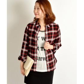 SHIPS for women / シップスウィメン コットン シャーリング チェックシャツ
