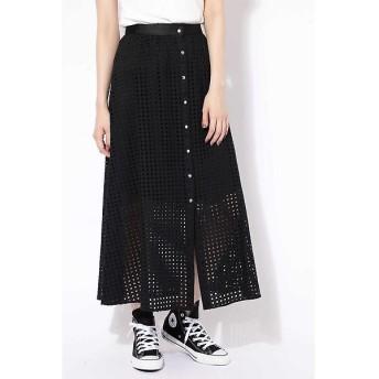 ROSE BUD / ローズ バッド ボタンメッシュロングスカート