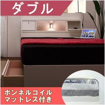 多機能な棚付きベッド ホワイト ダブル ボンネルコイルスプリングマットレス付き送料無料