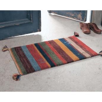 手織りギャッベ玄関マット 「マルチストライプ」
