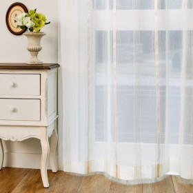 カーテン 安い おしゃれ レースカーテン ベルメゾン 透け感のあるストライプのトルコ刺繍レースカーテン 約100×88 1枚 約100×108 1枚