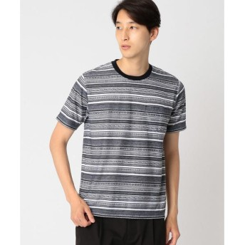 COMME CA ISM / コムサイズム ジャカード ボーダー Tシャツ