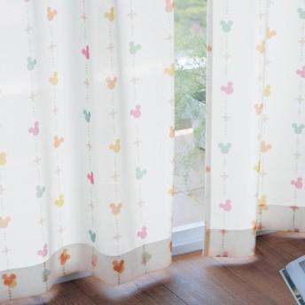 カーテンセット カーテン 安い おしゃれ ディズニー ミッキー 遮熱 遮像 UVカット ミラーレース ブルーマルチ 約100×108 2枚