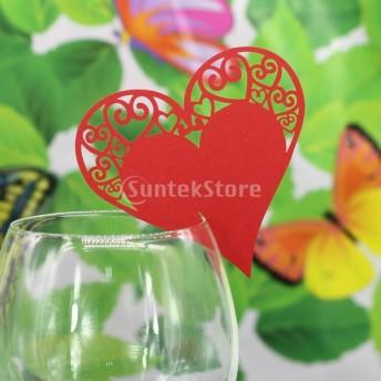 ノーブランド品ウェディング ベビーシャワー パーティ用 ワイングラス 席札 ネームカード レーザーカット ハート型 (レッド) 50枚