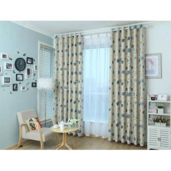 100x250cm 葉パタン ドレープカーテン 遮光カーテン 断熱 夜も透けにくい 取付穴付き 全4色 - ブルー