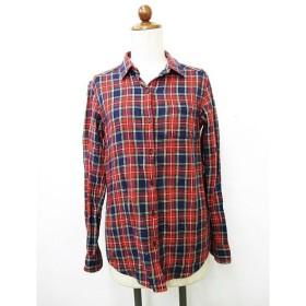 ユニクロ UNIQLO シャツ カジュアルシャツ 長袖 チェック レッド 赤 グリーン 緑 ホワイト M