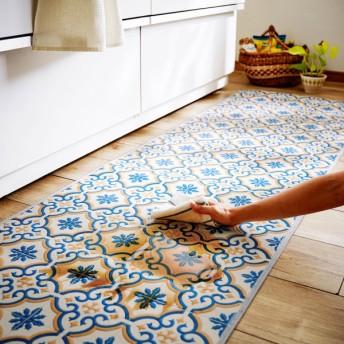 キッチンマット タイル柄の拭けるキッチンマット ブルー系 約60×180