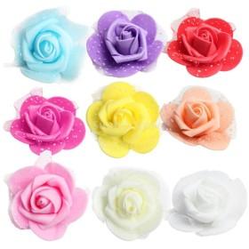 全10色選択 綺麗 美しい 花部分のみ 人工造花 ローズ フォーム 結婚式 写真撮影小物 ホーム/会場装飾 花ボール作り 約50個入り - ミックス