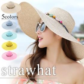 麦わら帽子 レディース 折りたたみ おしゃれ 大きいサイズ 大きめ つば広ハット uvカット帽子 天然素材 紫外線対策 ストーン