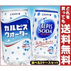 【送料無料】カルピス カルピスウォーター350g缶・カルピスソーダ350ml缶 選べる2ケースセット 48(24×2)本入