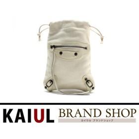 8a35aef2a806 バレンシアガ ポーチ 巾着ポーチ ホワイト(白)×ガンメタル金具 キャンバス×レザー ABランク