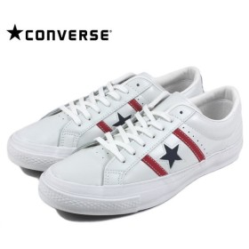 SALE コンバース CONVERSE STAR & BARS LEATHER スター&バーズ レザー ホワイト/レッド/ネイビー