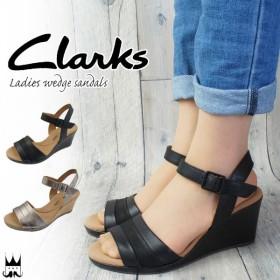 クラークス Clarks レディース ウェッジソール サンダル 厚底 237G 本革 レザー 黒 ブラック メタリック