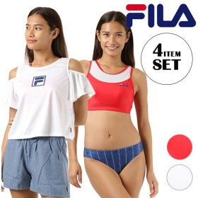 レディース フィットネス 水着 スポーツブラ FILA フィラ 228704 Tシャツ ショートパンツ付き 4点セット 体型カバー FX1 E24