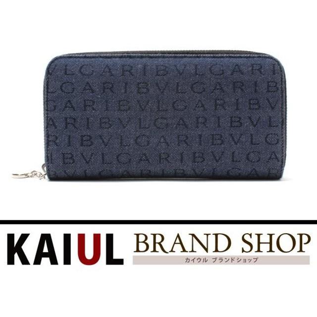c7f85d201215 ブルガリ 長財布 レッタレ ロゴマニア ラウンドファスナー長財布 ブルー(青)×シルバー