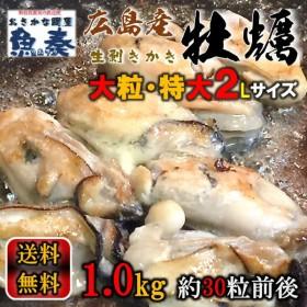 最安値挑戦 かき カキ 牡蠣 大粒 広島産 剥きかき1kg(解凍後約850g/30個前後 2Lサイズ) 送料無料 グルメ