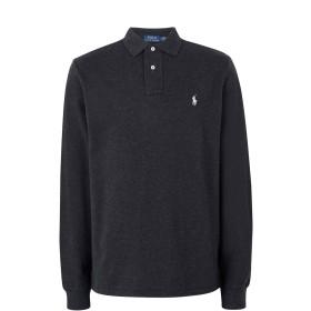 《期間限定セール開催中!》POLO RALPH LAUREN メンズ ポロシャツ スチールグレー S コットン 100% Long Sleeve Custom Fit Polo